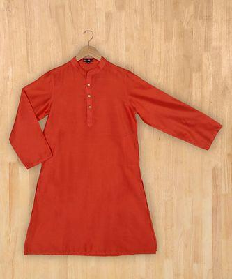 orange plain cotton poly boys kurta