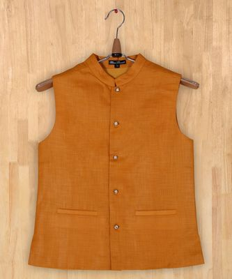 yellow plain linen boys nehru jacket
