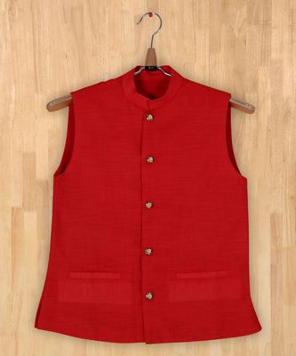 red plain linen boys nehru jacket