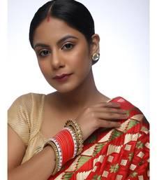 Red Chuda With Kundan Bangles & Heavy Meenakari Pearl Bangles