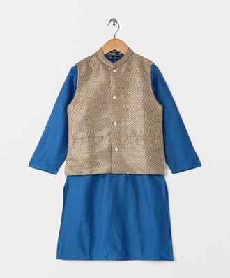 blue plain cotton poly boys kurta