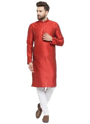 Embellished Brocade Kurta In Red With Churidar By Treemoda