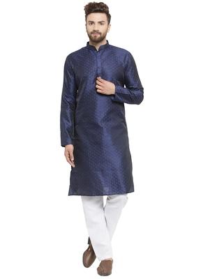 Embellished Brocade Kurta In Navy Blue With Aligarh By Treemoda
