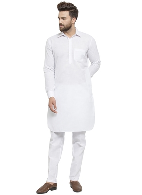 Designer White Pathani Linen Kurta With Pants For A Royal Look By Treemoda
