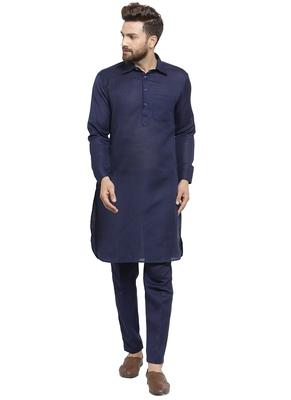 Designer Navy Blue Pathani Lenin Kurta With Pants For A Royal Look By Treemoda