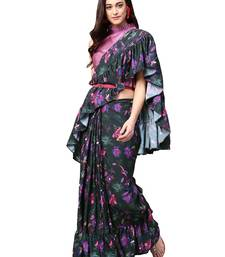 Black and Purple Ruffled saree with blouse