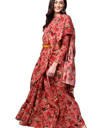Pink Floral Printed Ruffle saree with blouse