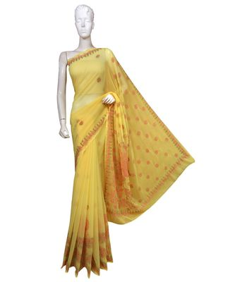 Ada Hand Embroidered Lucknow Chikan Yellow Faux Georgette Saree with Blouse