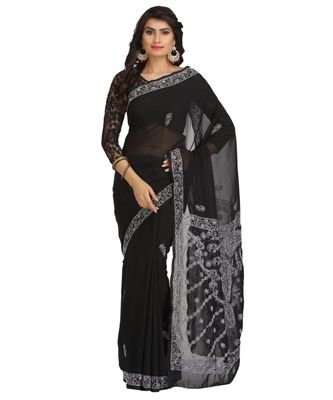 Ada Hand Embroidered Black Faux Georgette Lucknow Chikan Saree With Blouse