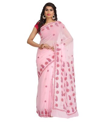 Ada Hand Embroidered Pink Faux Georgette Lucknow Chikan Saree With Blouse
