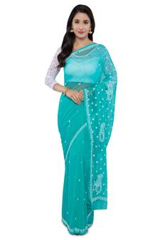 ec0046276dc5a9 Ada Hand Embroidered Green Faux Georgette Lucknow Chikan Saree With Blouse