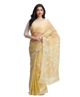 Ada Hand Embroidered Fawn Cotton Lucknow Chikan Saree With Blouse