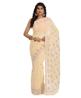 Ada Hand Embroidered Fawn Faux Georgette Lucknow Chikan Saree With Blouse
