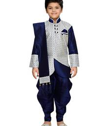Blue woven art silk boys sherwani