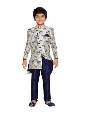 Beige woven art silk boys sherwani