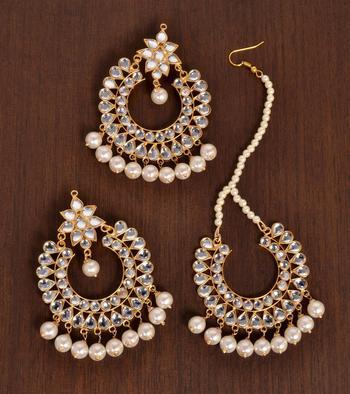 Off-White Pearled Kundan Embellished Dangler Earrings cum Tikka