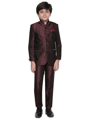 Maroon plain blended cotton boys-indo-western-dress