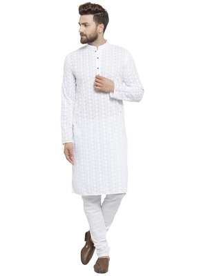 Designer White Chikankari Linen Kurta with Churidaar Pajami for a Royal look by TREEMODA