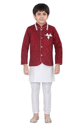 Maroon brasso velvet boys-indo-western-dress