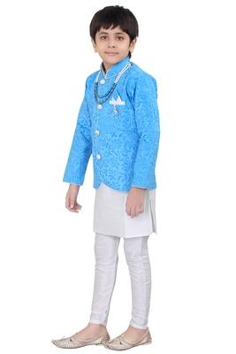 Blue brasso velvet boys indo western dress