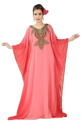 Peach embroidered georgette islamic kaftans