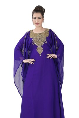 Purple embroidered georgette islamic kaftans
