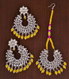 Silver Plated Yellow Beaded Kundan Embellished Earrings cum Tikka Set