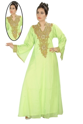 Light green embroidered georgette islamic kaftans
