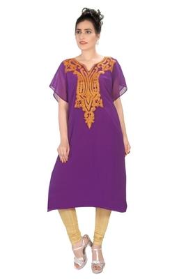 Purple embroidered georgette short islamic kaftans