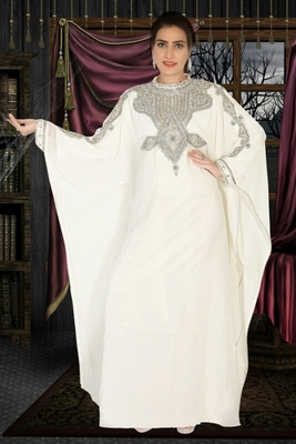Cream embroidered georgette islamic kaftans