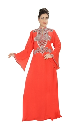 Orange embroidered georgette islamic kaftans