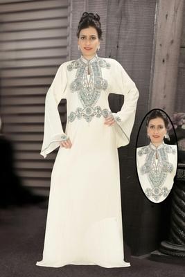 Cream embroidered georgette islamic kaftans