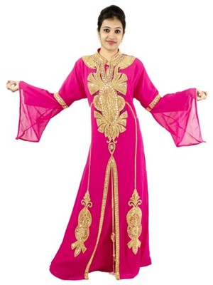 Pink embroidered georgette islamic kaftans