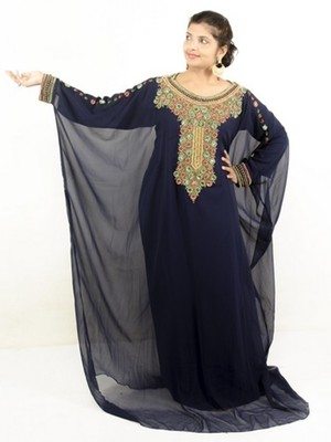Navy blue embroidered georgette islamic kaftans