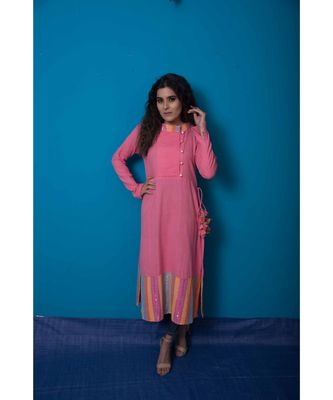 Pink multicoloured khadi cotton kurta