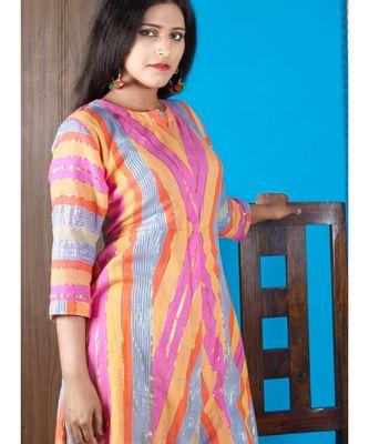 Multi Colour Khadi Cotton Kurta