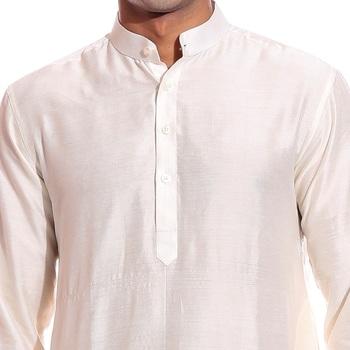 White plain dupion silk dhoti-kurta