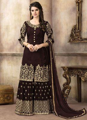 Brown embroidered uppada silk salwar