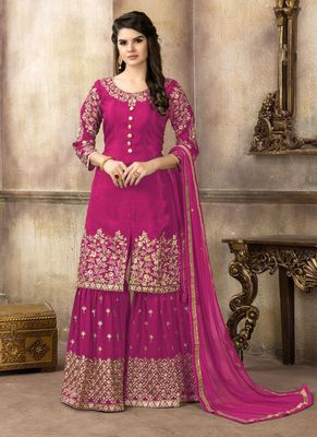 Magenta embroidered uppada silk salwar