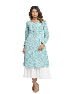 green block print cotton kurti-set