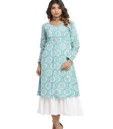 green block print cotton kurti-set