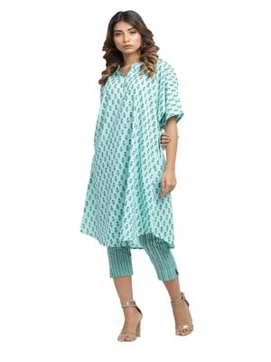 turquoise block print cotton kurti-set