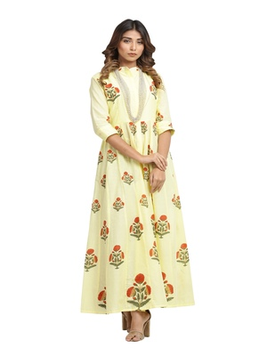 yellow block print cotton kurti-set