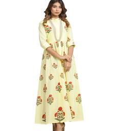 yellow block print cotton kurti-set