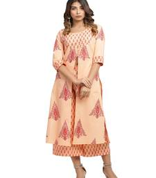 orange block print cotton kurti-set