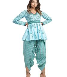 turquoise block print cotton kurti-set