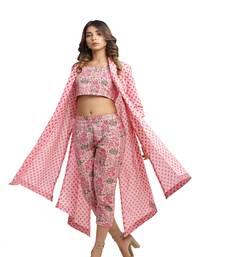 pink block print cotton kurti-set