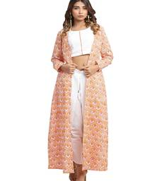 orange block print cotton kurti-set