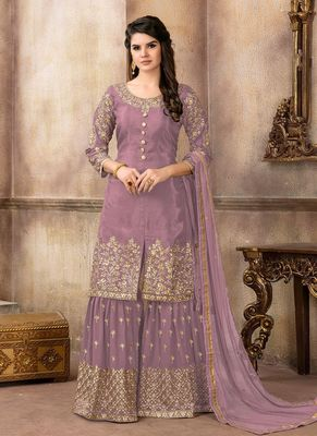 Mauve embroidered uppada silk sharara suits