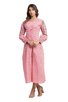 pink block print cotton kurti-set